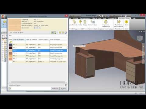 Autodesk Inventor + Woodwork pour Inventor - Réalisation d'un bureau d'angle