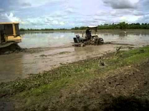 bulldozer pulling tractor through rice field during land preparation.avi