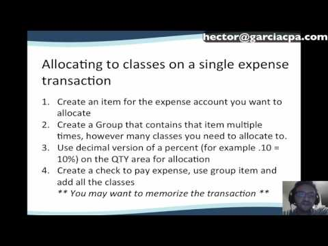 Allocation of expense, classes, and customers in QuickBooks