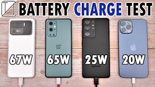 Xiaomi Mi 11 Ultra vs OnePlus 9 Pro vs Samsung S21 Ultra vs iPhone 12 Pro Max Charging Speed Test