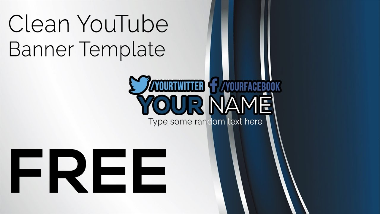 free clean youtube banner template photoshop and gimp youtube. Black Bedroom Furniture Sets. Home Design Ideas