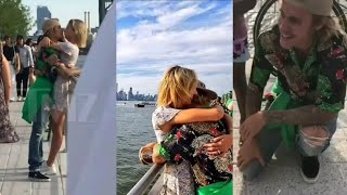 Justin Bieber & Hailey Baldwin kissing hugging & taking pictures with fans