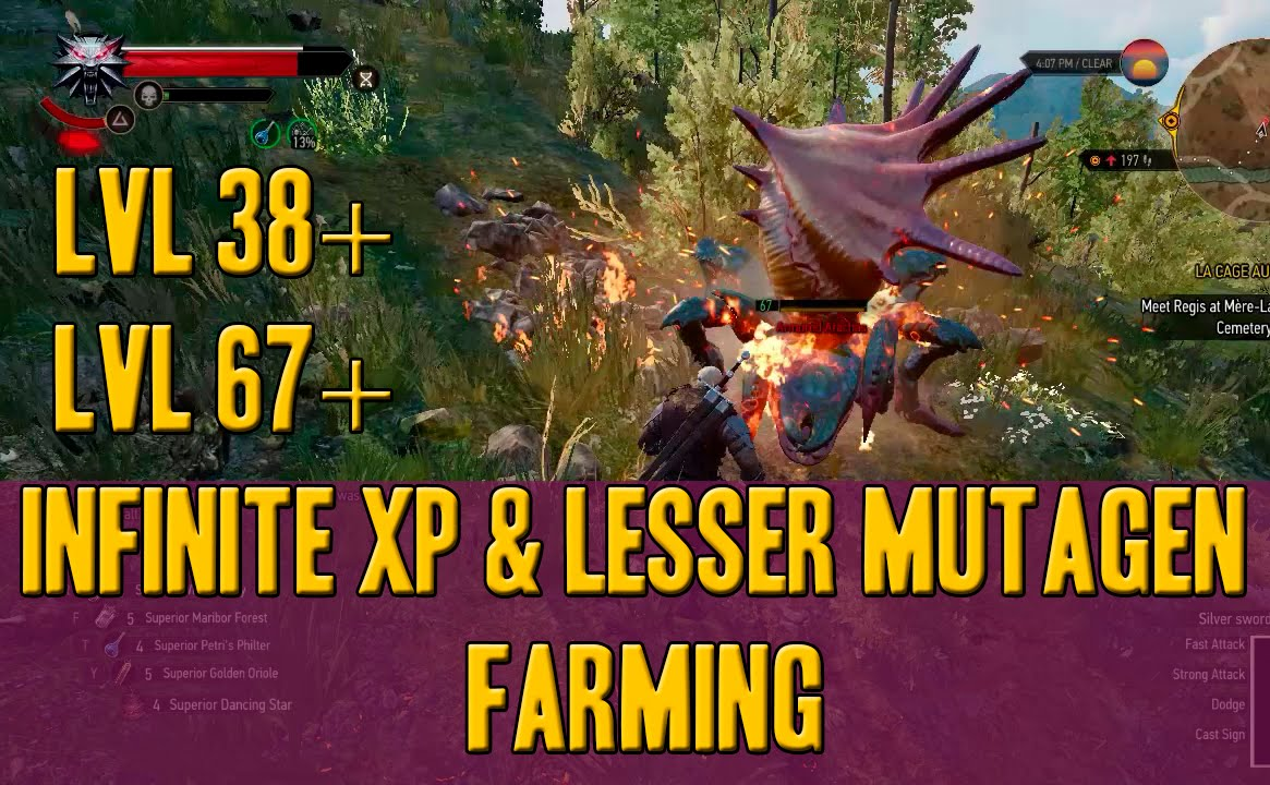 The witcher 3: xp and lesser mutagen farming( blue green red) patch 1 22  pc,ps4,xbox
