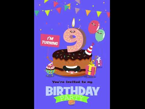 9th Birthday Party - Blue Invitation