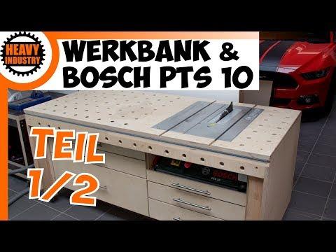 Werkbank mit integrierter Bosch PTS10 / Tischkreissäge