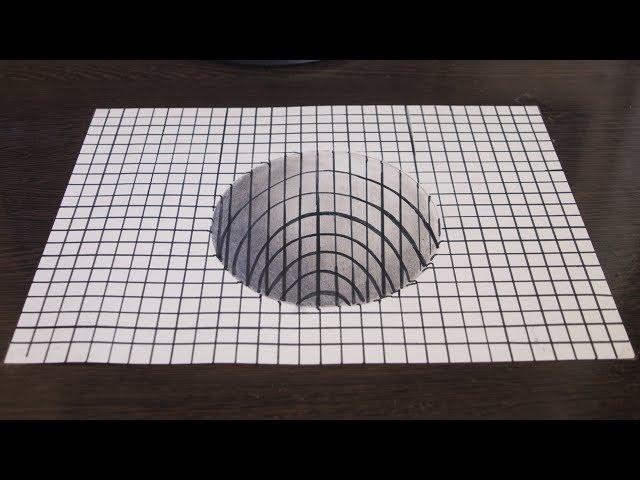 3D Рисунок Как Нарисовать 3Д Иллюзию  Drawing a Hole 3D Trick Art on Paper