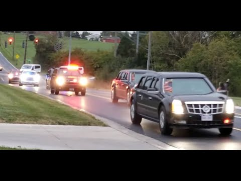 Presidential Motorcade  passing our office in Lebanon Ohio