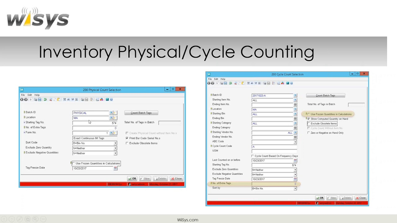 physical and cycle count macola inventory using wisys agility tools