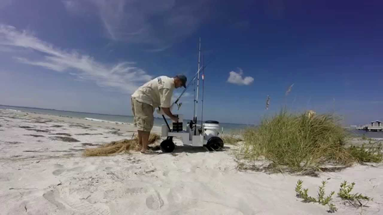 Fishing with seamule surf cart youtube for Surf fishing cart