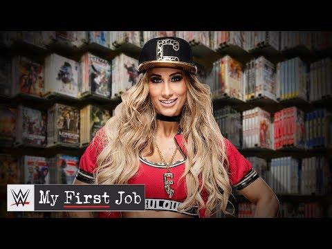 Where did Carmella work before she became fabulous?: WWE My First Job