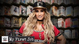 Where did Carmella work before she became fabulous?: WWE My First Job
