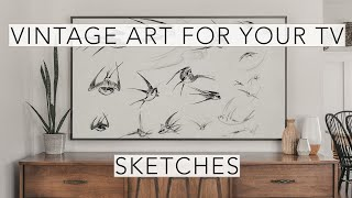 Sketches | Vintage Art Slideshow for your TV | 1hr of 4K HD Paintings.