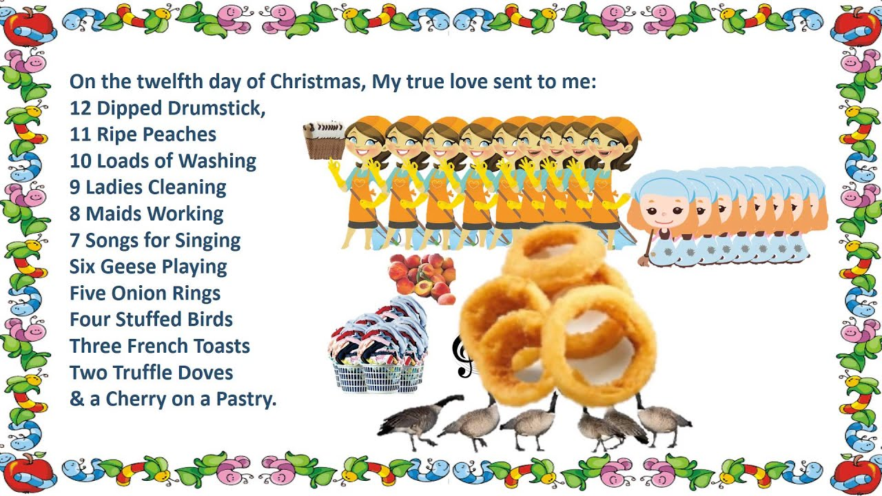 12 days of christmas 5 onion rings 4 stuffed birds 3 french toasts 2 truffle doves