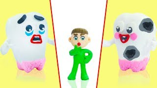 SUPERHERO BABY LEARNING TOOTH DECAY 💖 Animation Cartoons Play Doh