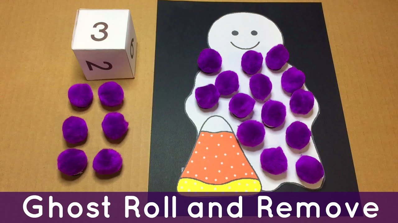 Ghost Roll And Remove Preschool And Kindergarten Math Activity