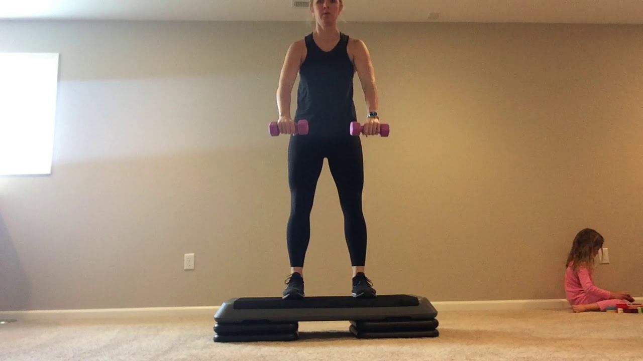 Cardio/Strength Workout basic step combos with light weights 50 minutes. Calorie burner!