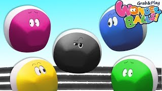 Colors With Squishy Running Crayons Vs Funny WonderBalls Shows For Kids   Cartoon Animation