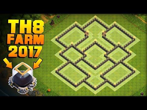 Clash of Clans   BEST TH8 FARMING BASE 2017 + PROOF!!   CoC Dark Elixir / DE Protection Base!