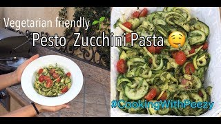 Cooking With Peezy 👩🏽🍳 | Pesto Zucchini Pasta 🤤 | Vegetarian Friendly 🌱 | Acpeezy