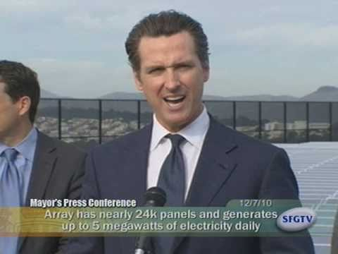 Mayor Newsom Powers Up California's Largest Municipal Solar Project At Sunset Reservoir