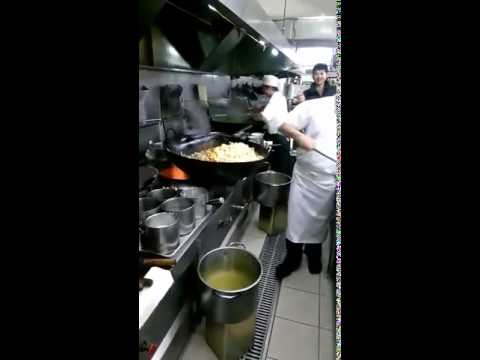 Giant Wok Cooks Food for 60 People