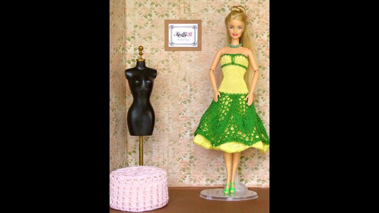 Hand knit doll clothes for Barbie. KnittyforB - YouTube