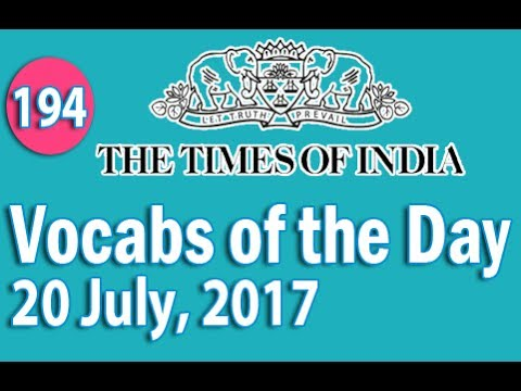 The Times of India Vocabulary (20 July, 2017) - Learn 10 New Words with Tricks | Day-194