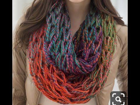 Arm knitting scarf  طريقة عمل كوفية بالاصابع فى نصف ساعة