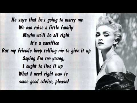 Madonna - Papa Don't Preach Karaoke / Instrumental With Lyrics On Screen