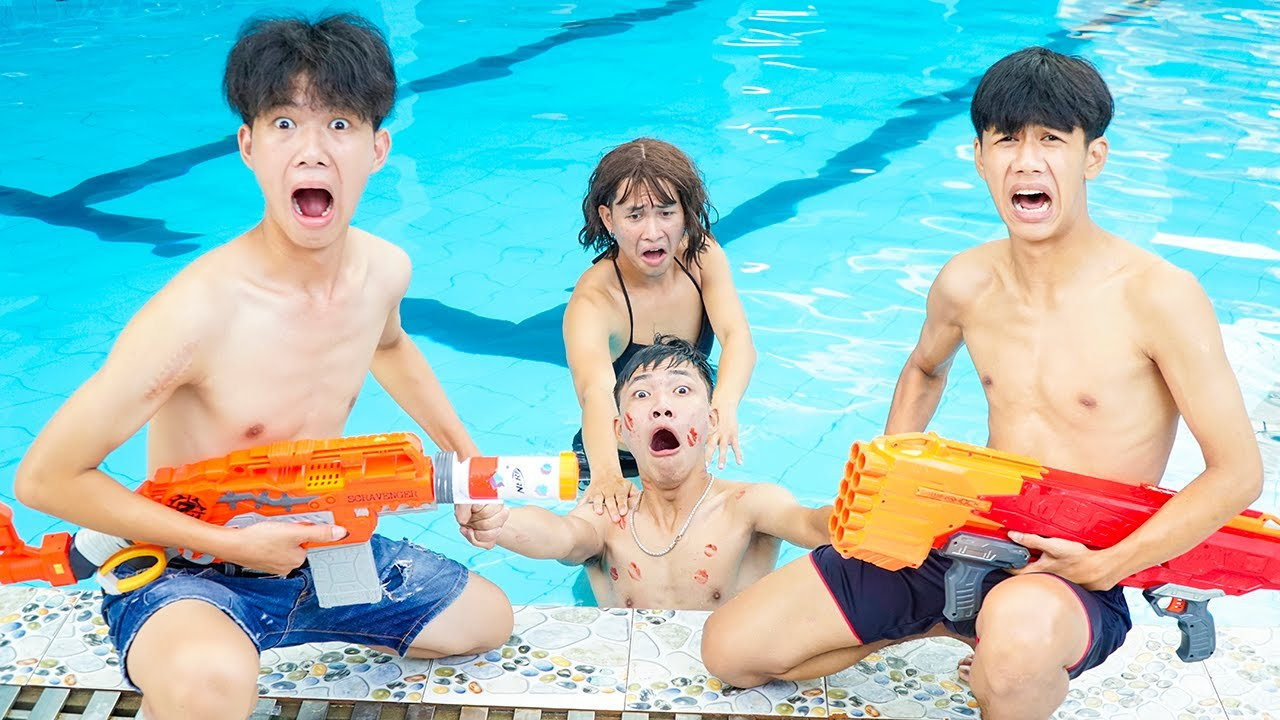 League Nerf War: Seal Warrior Pretend To Be Girl  Nerf Guns Fight Criminal Underwater Prank at Pool