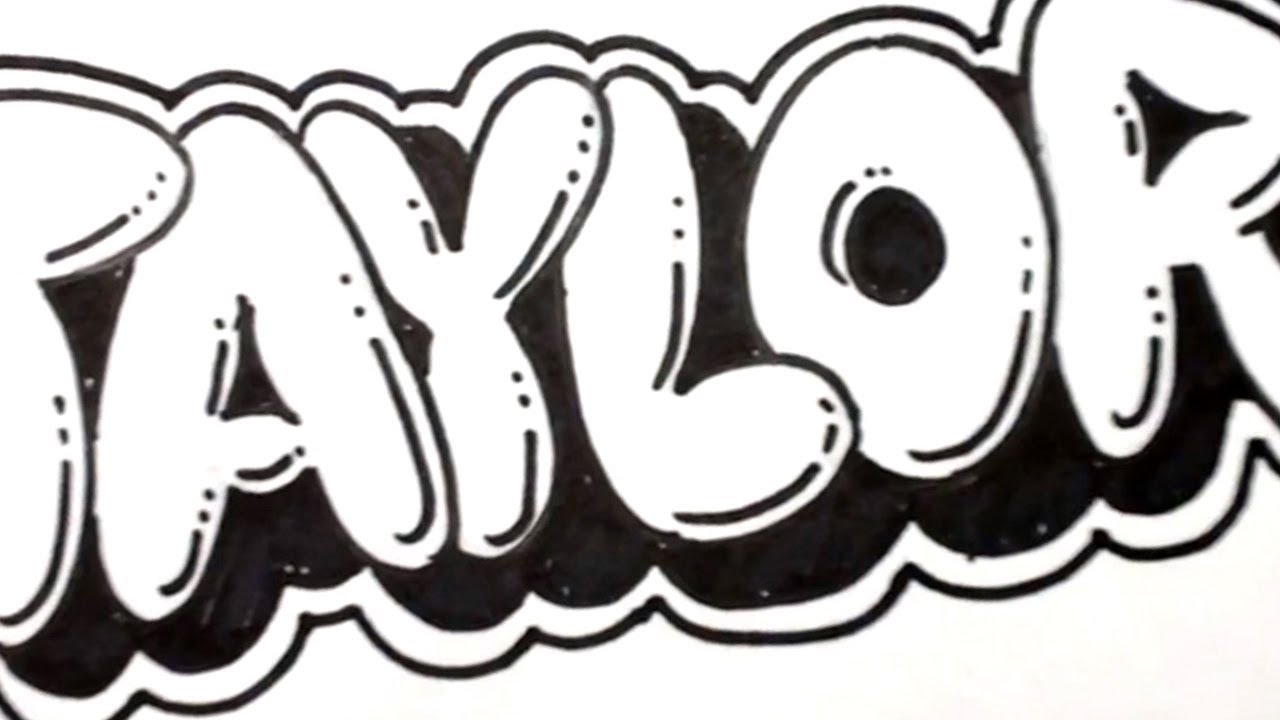 How to Draw Bubble Letters   Taylor in Graffiti Name Art   MAT   YouTube