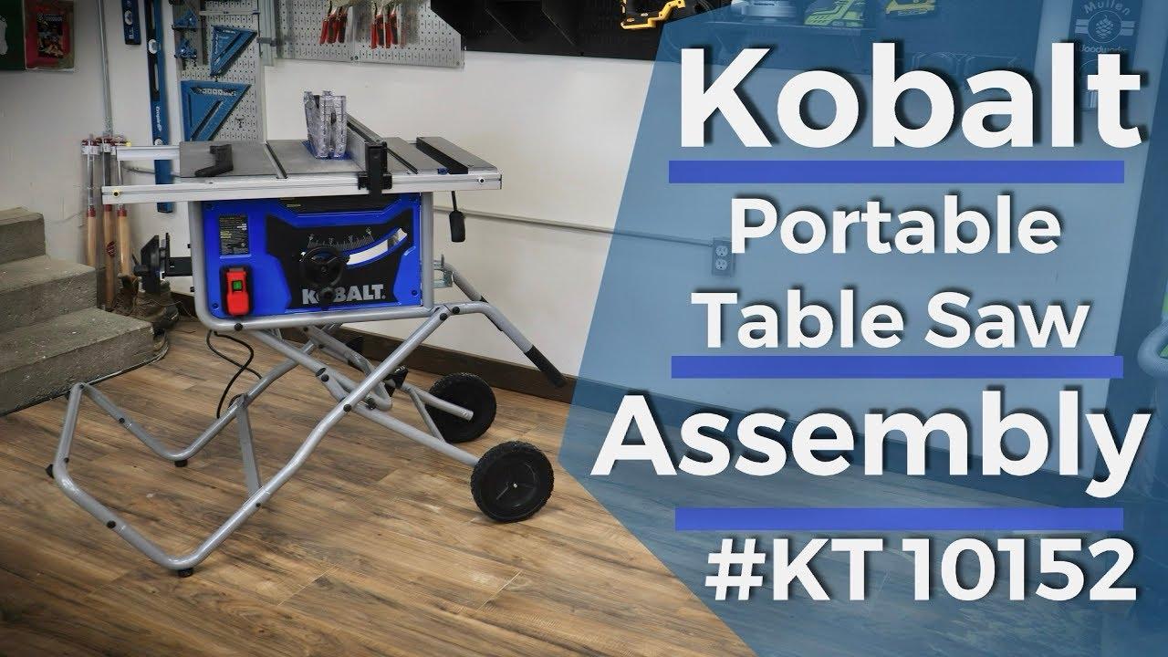 kobalt portable table saw assembly kt10152