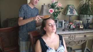 Hair Brushing & Scalp Massage on my mom! :) Softly Spoken 3D ASMR
