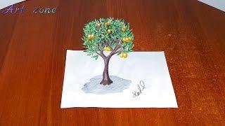 Как нарисовать 3D РИСУНОК на бумаге поэтапно  МАНДАРИНОВОЕ ДЕРЕВО(Как нарисовать 3D РИСУНОК на бумаге карандашом. How to draw 3D. Здравствуйте, в этом видео вы увидите, как нарисоват..., 2016-03-23T23:01:45.000Z)