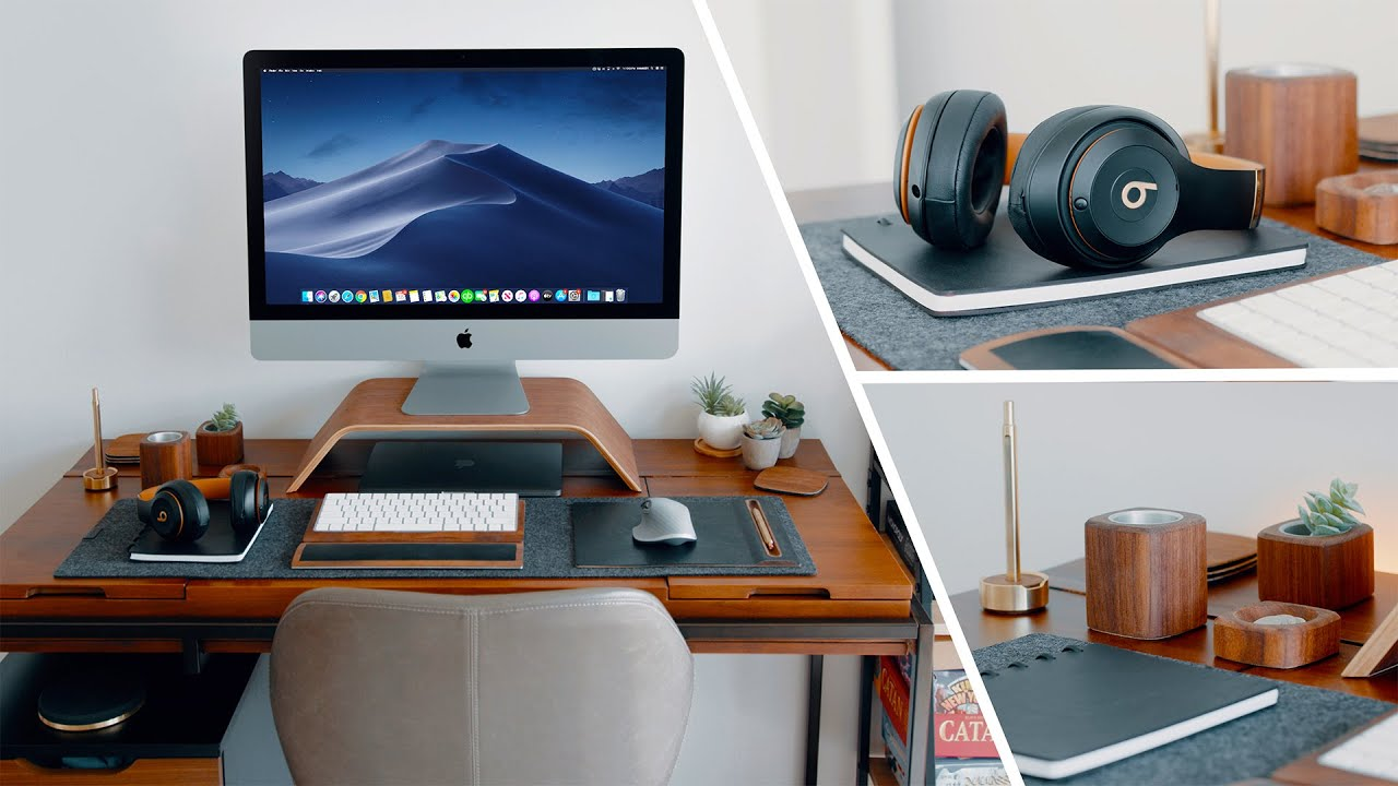 Modern Wood Desk Setup Tour 2020 - Work From Home!
