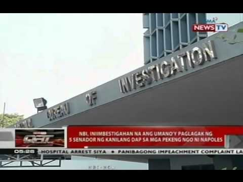 NBI iniimbestigahan na ang umano'y paglagak ng 5 senador sa mga pekeng NGO ni Napoles