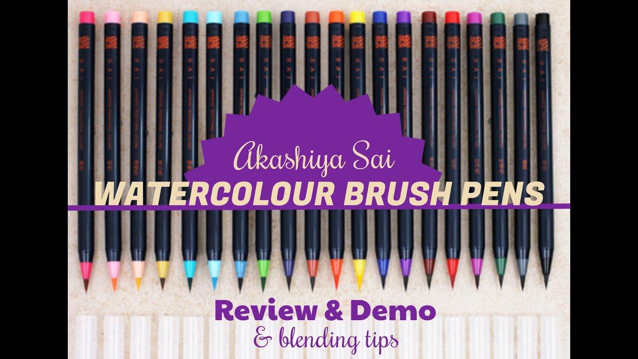 Akashiya Sai watercolour brush pens | Review & Demo + blending tips  #lovesummerart
