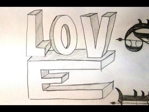 How To Draw LOVE In 3D Style 3D Letters Drawing