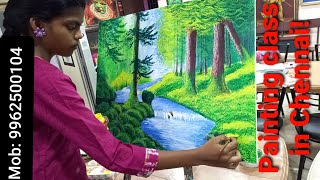 Drawing And Painting Class In Chennai | Acrylic Landscape Painting Video | Drawing Teacher Training