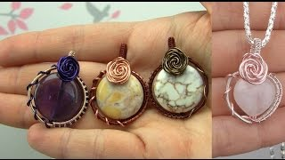 Wire Wrapped Rose Pendant (Gemstone Bead, Beginner Level)