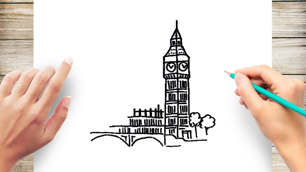 How To Draw Big Ben Step By Step Youtube