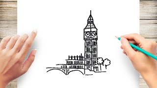 How to Draw Big Ben Step by Step