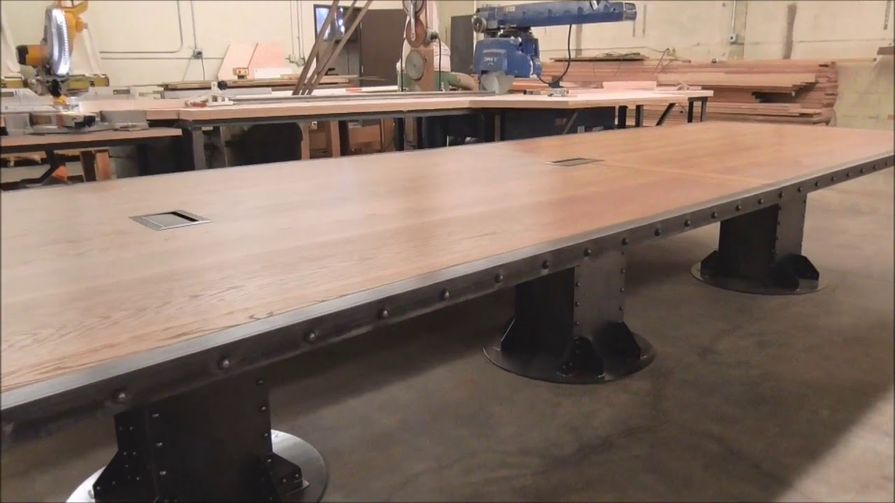 Vintage Industrial Desk And Conference Table YouTube - Desk with meeting table