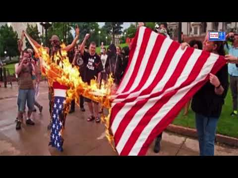 news Boston Antifa Thanks Hillary Clinton, Democrats for Their Support as They Burn American Flag