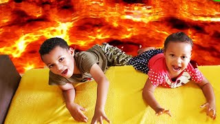 The floor is lava Challenge. Funny stories for Kids