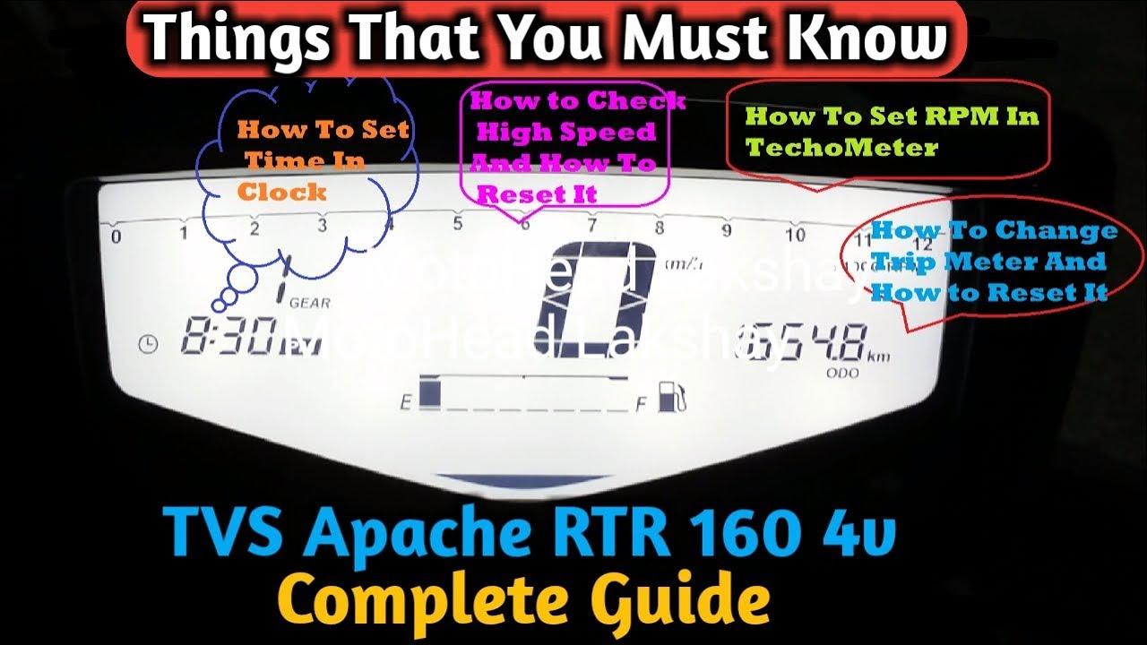 TVS Apache RTR 160 4v Complete Guide(Clock Setup,RPM Setup,Trip Meter,High  Speed)How To Adjust Them