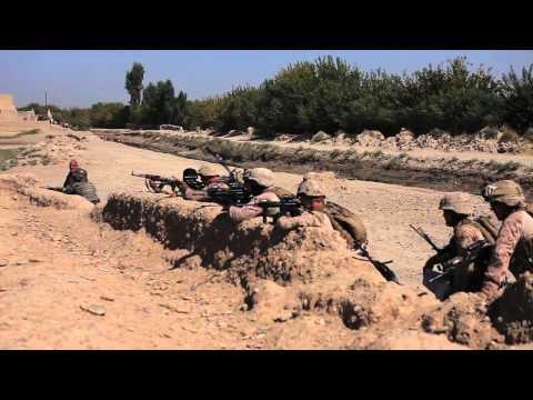 U.S. Marines with ANA run towards gunfire at Nawa, Afghanistan