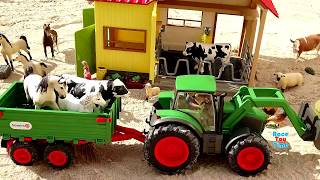 Toy Farm Animals with Schleich Tractor For Kids - Learn Animal Names Video