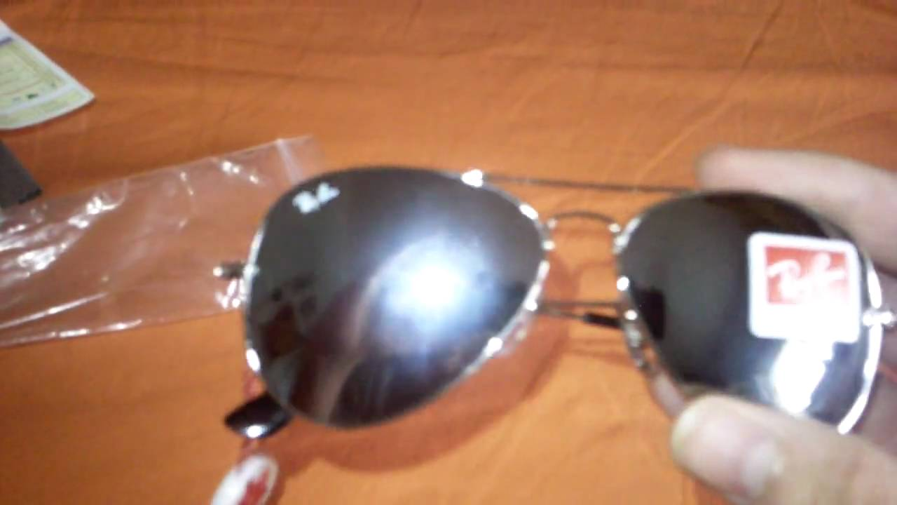 ray ban aviator silver 1fje  Ray Ban 3025 Aviator silver mirrored unboxing and review taken by i8910