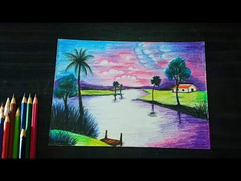 วาดภาพวิวเเม่น้ำยามเย็น ด้วยสีไม้ระบายน้ำ How to draw Evening river view